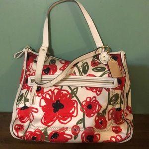 Coach poppy flora print Hallie tote purse
